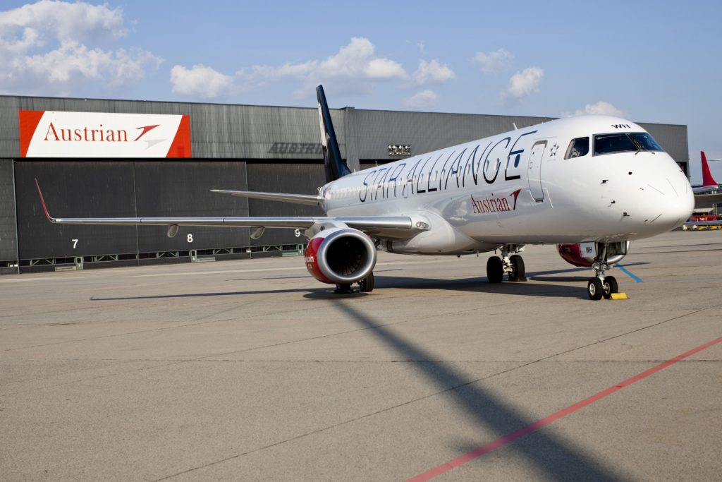 Austrian Airlines Embraer OE-LWH, Wien 27.09.2016 Foto: Michèle Pauty