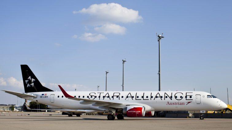 Primul Embraer 195LR în livery Star Alliance al Austrian Airlines a efectuat primul său zbor; detinația a fost Chișinău