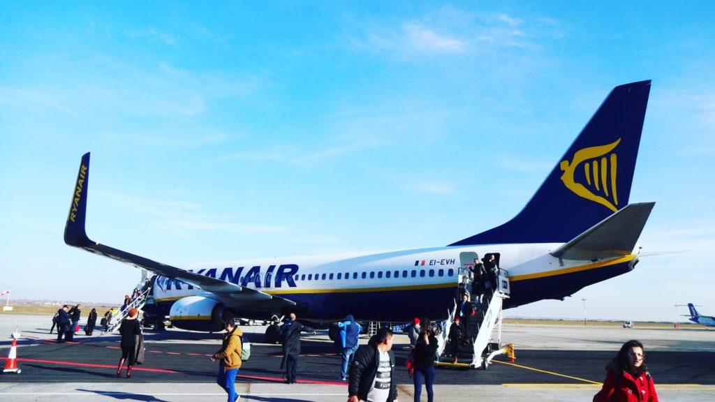 Boeing-ul 737 Ryanair la după aterizarea la Timișoara // Foto: Valentin Moise