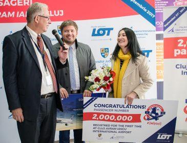 Pasagerul cu numărul 2 milioane a trecut astăzi pragul aeroportului din Cluj-Napoca