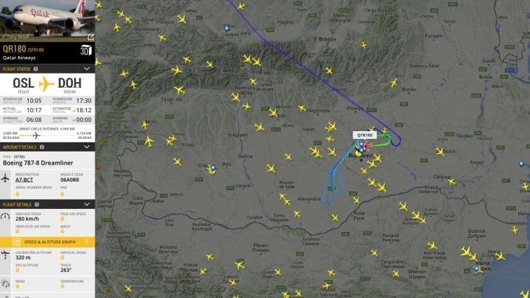 INCIDENT: Un Boeing 787-8 Dreamliner Qatar Airways a aterizat de urgență la Otopeni (zborul QR180 Oslo – Doha) FOTO & VIDEO