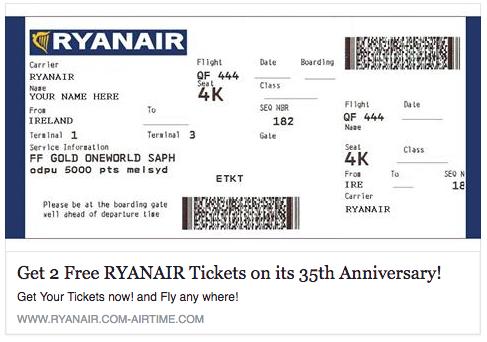 Atenție: un nou tip de înșelătorie circulă zilele acestea pe internet, promite 2 bilete Ryanair gratuite