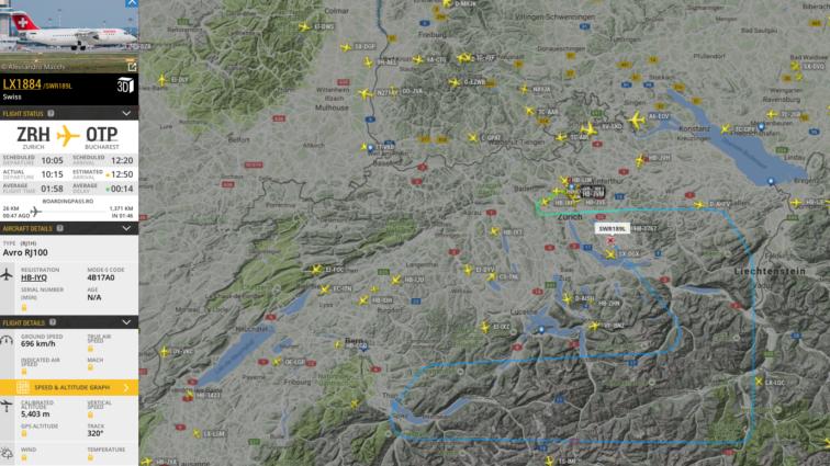 Probleme pentru zborul Swiss LX1884 Zurich – București, aeronava se întoarce la Zurich (UPDATE)