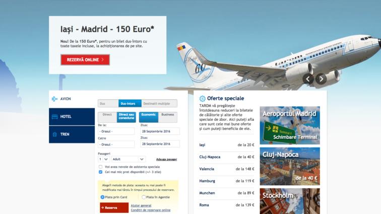 Interfața siteului TAROM.ro devine mai modernă