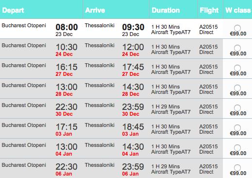 Zboruri Astra Airlines București - Salonic de Crăciun