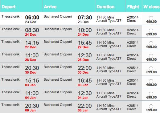 Zboruri Astra Airlines Salonic - București de Crăciun