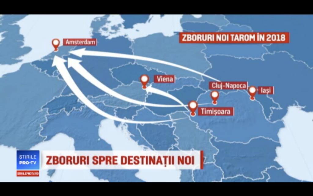 TAROM în vară din Iași, Cluj-Napoca și Timișoara către Amsterdam și din Timișoara către Viena? 1