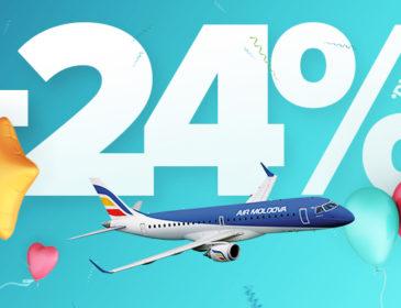 Ofertă: 24% reducere pe zborurile Air Moldova odată cu împlinirea a 24 ani de activitate