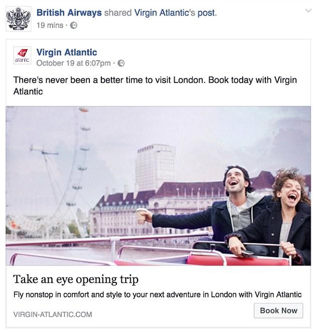 Postarea inițială făcută de British Airways // foto: DailyMail