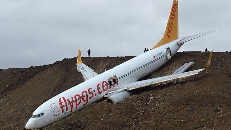 Accident: un Boeing 737 Pegasus Airlines a ieșit de pe pista aeroportului din Trabzon, Turcia (FOTO)