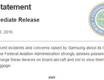 FAA avertizează pasagerii să nu folosească noul Galaxy Note 7 în timpul zborului