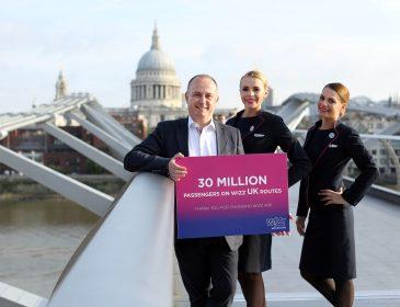 Ofertă: 20% reducere la zboruri din și către Marea Britanie doar astăzi, aniversare a 30 de milioane de pasageri Wizzair din și către Mare Britanie