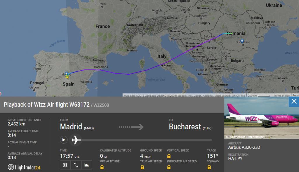 Ruta zborului W63172 Madrid - București care a fost redirecționat la Sibiu