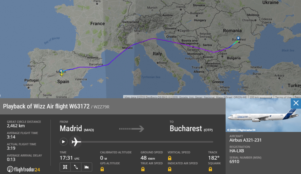 Ruta unui zbor W63172 Madrid - București care a zburat direct la București